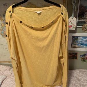 Caslon yellow and white pinstripe tunic